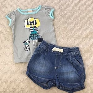 Gymboree Baby Girl Top H&M Shorts Outfit
